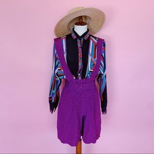 Vtg 80s Purple Abstract Print Romper S M